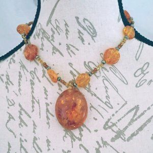 Faux Amber Statement Necklace